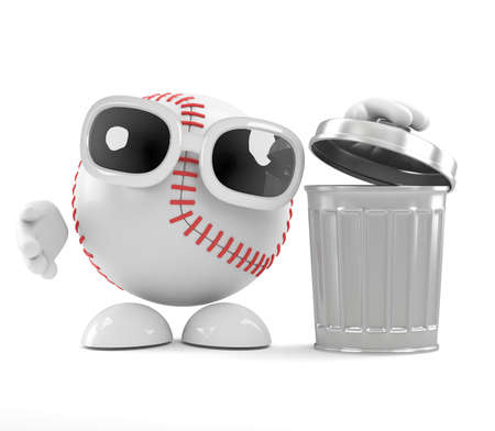 waster: 3d render of a baseball character next to a waste bin