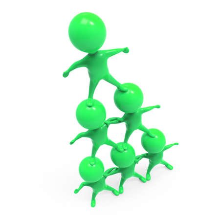 heirarchy: 3d render of little green people forming a human pyramid
