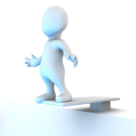 diving board: 3d render of a little person on a diving board