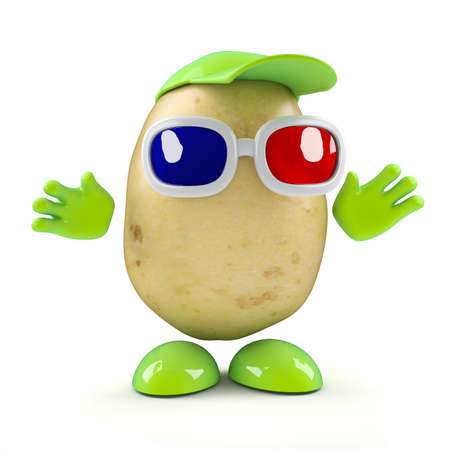 spud: 3d render of a potato character wearing 3d glasses