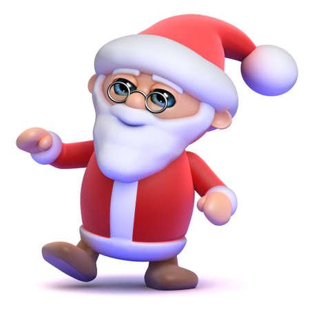 merrily: 3d render of Santa Claus dancing merrily