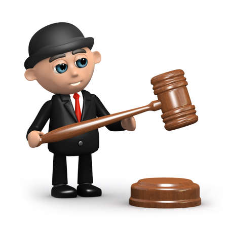 3d render of a businessman with an auctioneers gavel photo