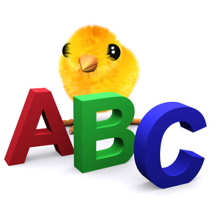3d render of a baby chick with letters of the alphabet photo
