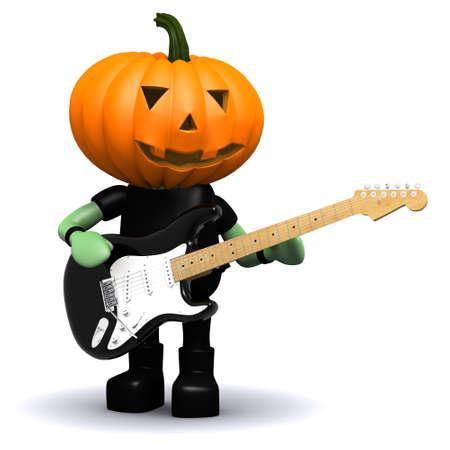 prank: 3d render of a pumpkin head playing electric guitar Stock Photo