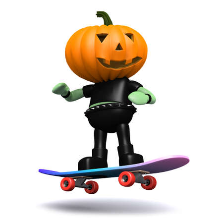 prank: 3d render of a pumpkinhead monster riding a skateboard Stock Photo