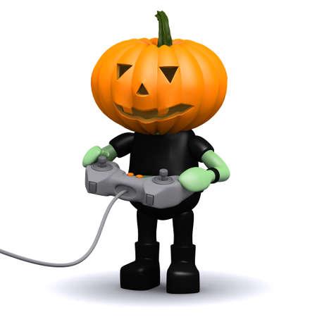 prank: 3d render of a pumpkin head monster playing a videogame