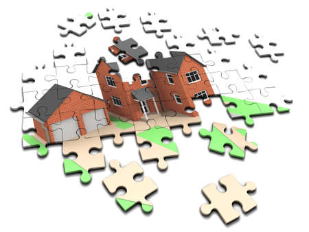 housing problems: 3d render of an unmade jigsaw puzzle depicting a house and garage Stock Photo