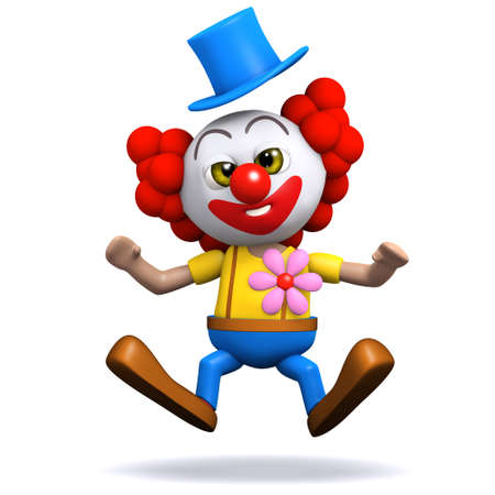 backwards: 3d render of a clown leaping backwards in surprise