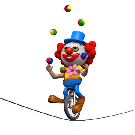multitask: 3d render of a clown juggling on a unicycle white balancing on a highwire