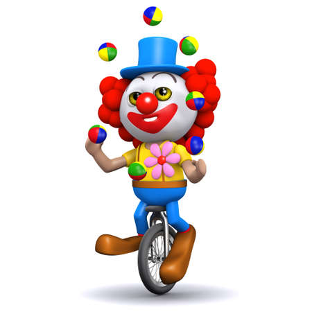 3d render of a clown juggling on a unicycle photo