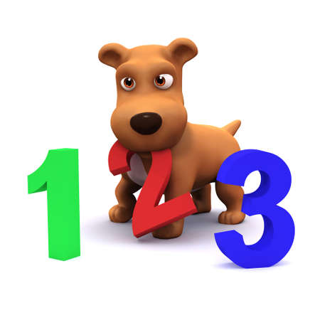mongrel: 3d render of a puppy dog with the numbers 1,2 and 3 Stock Photo