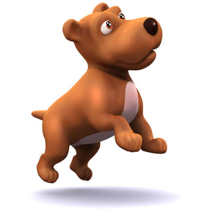 3d render of a puppy dog jumping Stock Photo
