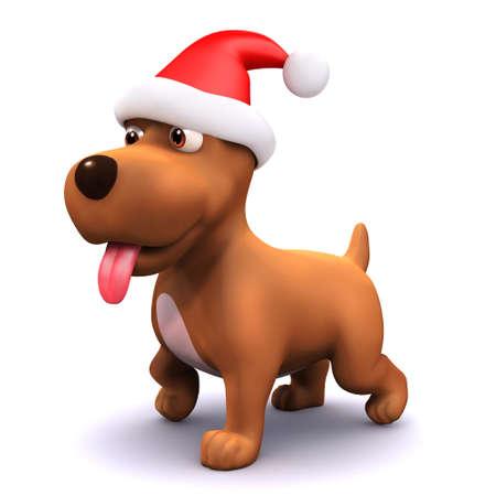 mongrel: 3d render of a puppy dog wearing a Santa Claus hat