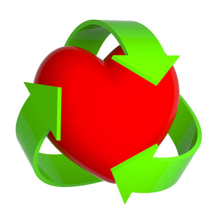 3d render of a heart being surrounded by a recycle symbol photo
