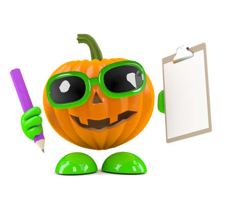prank: 3d render of a pumpkin character holding a clipboard and pencil