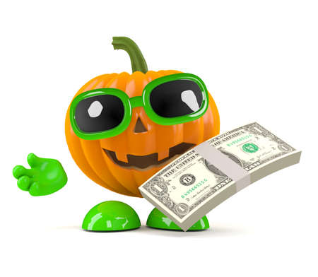 wad: 3d render of a pumpkin character holding a wad of US Dollars