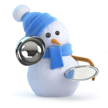 silver service: 3d render of a snowman offering silver service