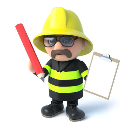 3d Fireman with clipboard and pencil Stock Photo