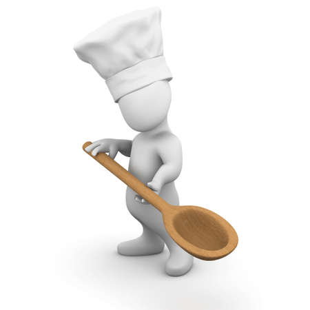 3d render of a little person wearing a chefs hat and holding a wooden spoon photo