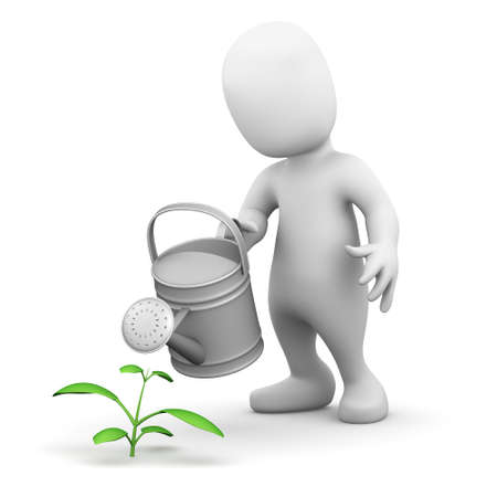 nurture: 3d render of a little person watering a seedling Stock Photo