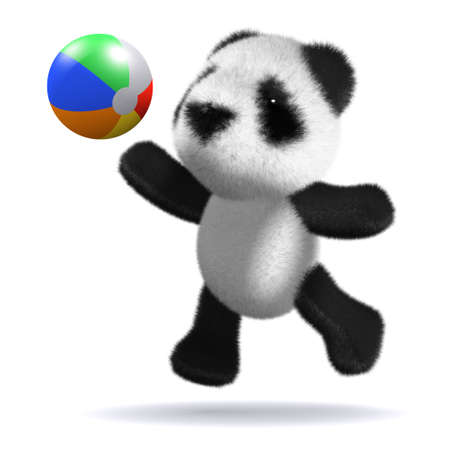 3d render of a baby panda bear playing with a beachball photo