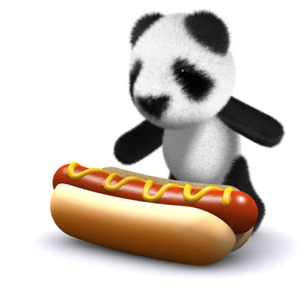 3d render of a baby panda bear with a giant hot dog photo