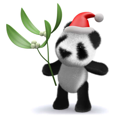 3d render of a baby panda bear wearing a Santa Claus hat and holding mistletoe photo