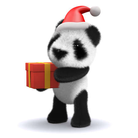 3d render of a baby panda bear dressed as Santa bearing a gift photo