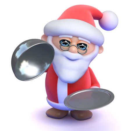 silver service: 3d render of Santa holding a silver service tray