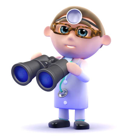 gp: 3d render of a doctor holding a pair of binoculars Stock Photo
