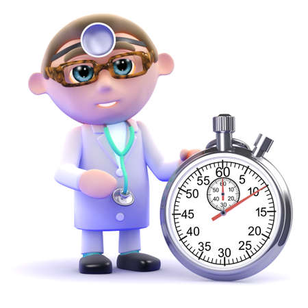 gp: 3d render of a doctor with a stopwatch Stock Photo