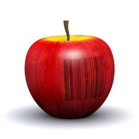 gm: 3d render of a red apple marked with a barcode Stock Photo