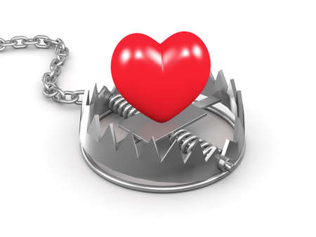 menace: 3d render of a red heart in a trap