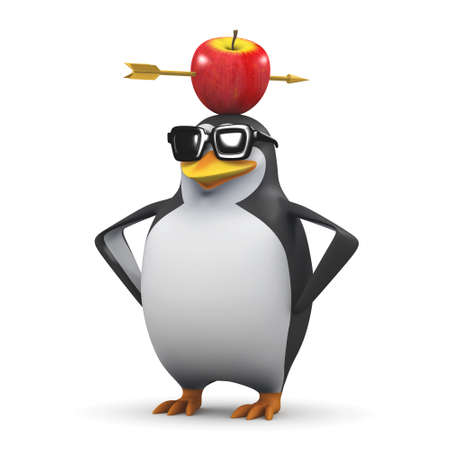 3d render of a penguin with an apple with an arrow through it on his head