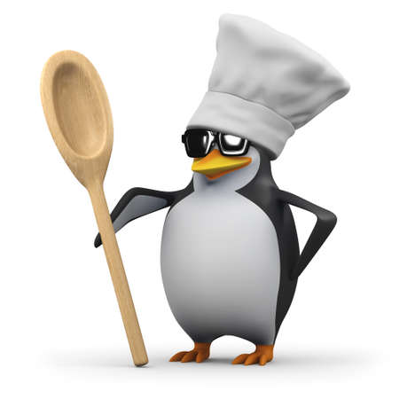 wooden hat: 3d render of a penguin wearing a chefs hat and holding a wooden spoon