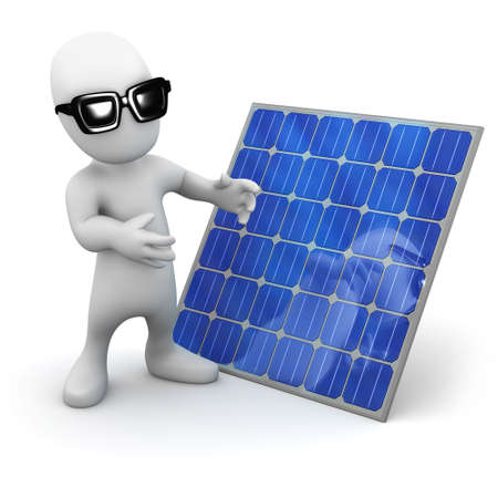 carbon neutral: 3d render of a little person wearing sunglasses standing next to a solar panel Stock Photo