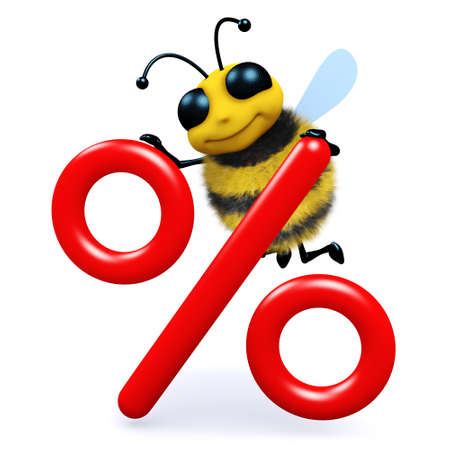interest rate: 3d render of a bee next to an interest rate symbol Stock Photo