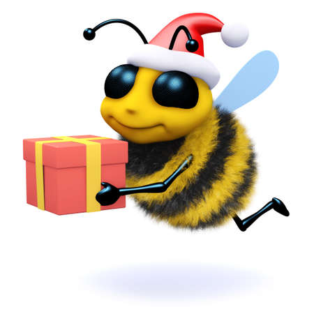 3d render of a bee wearing a Santa Claus hat and holding a Christmas gift photo