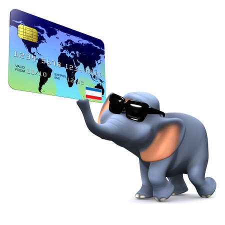 3d render of a cartoon style elephant with a debit card photo