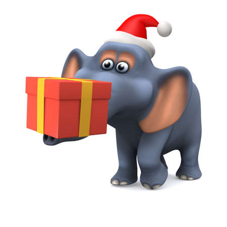 elephant trunk: 3d render of a cartoon style elephant carrying a Christmas gift