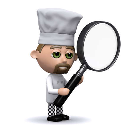 3d render of a chef holding a magnifying glass photo