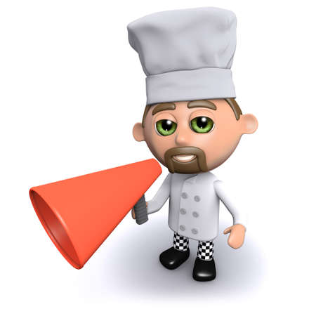 loudhailer: 3d render of a chef with a megaphone Stock Photo