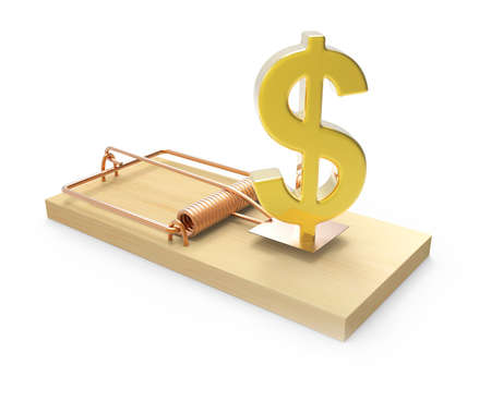 sprung: 3d Gold US Dollar symbol as bait in a mousetrap