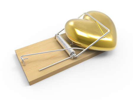 sprung: 3d render of a golden heart trapped in a mousetrap