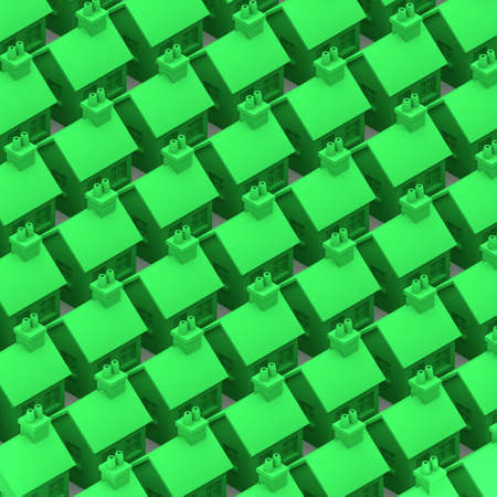 carbon neutral: 3d render of a grid of green houses
