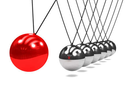 newton's cradle: 3d render of a Newtons Cradle with swinging red ball