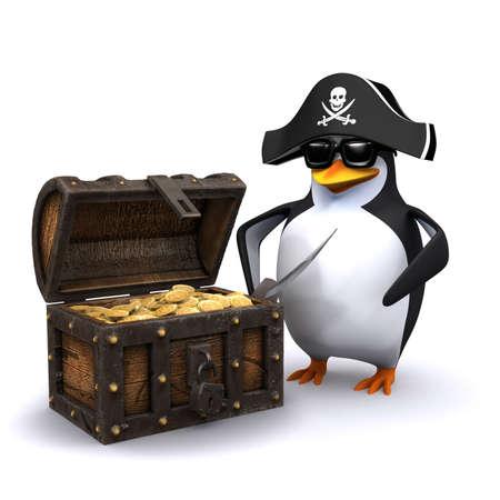 cofre del tesoro: 3d rinden de un ping�ino vestido como un pirata que se coloca al lado de un cofre del tesoro lleno de oro