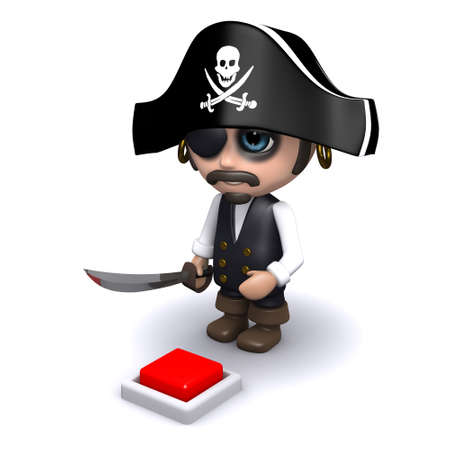privateer: 3d render of a pirate looking at a red button in the floor Stock Photo