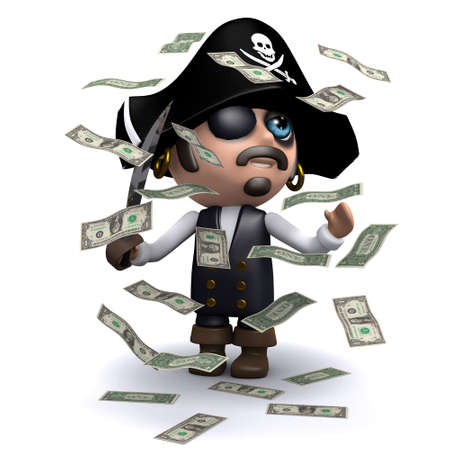windfall: 3d render of a pirate surrounded by falling US Dollar bills