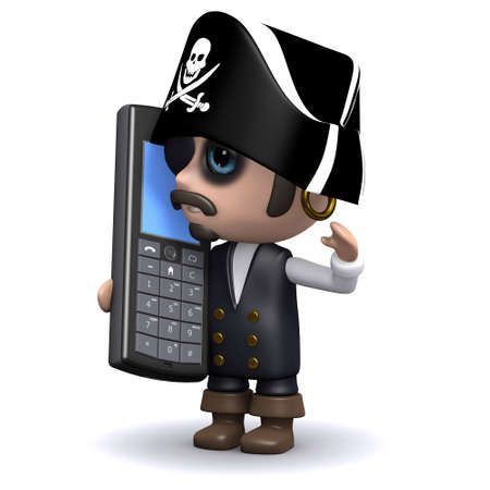 privateer: 3d render of a pirate with a cell phone